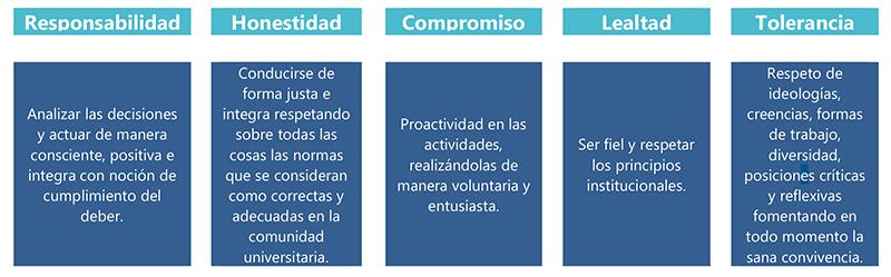 Descripción de los Valores Institucionales de la Universidad Tecnológica de Xicotepec de Juárez