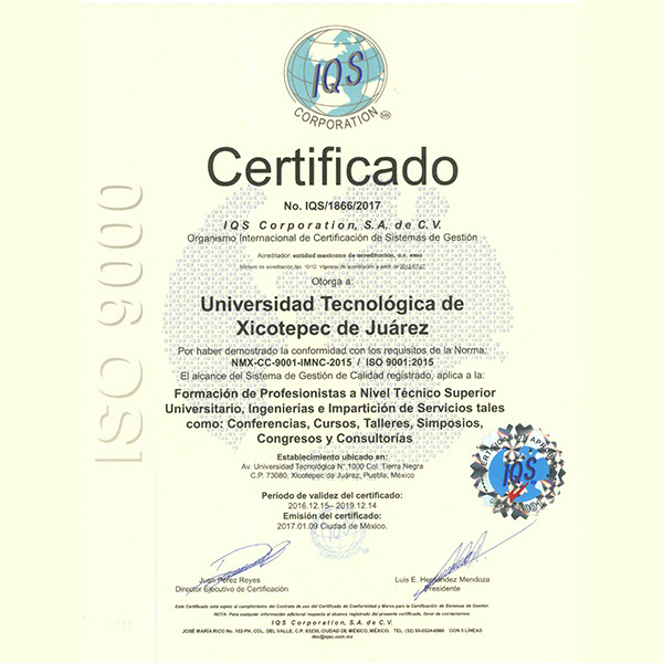 Certificación  ISO 9001:2015 y 14001:2015