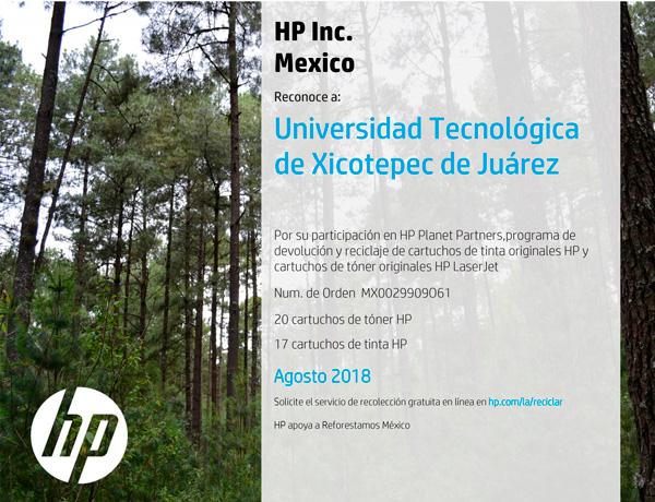 Reconocimiento HP a la UTXJ Agosto 2018