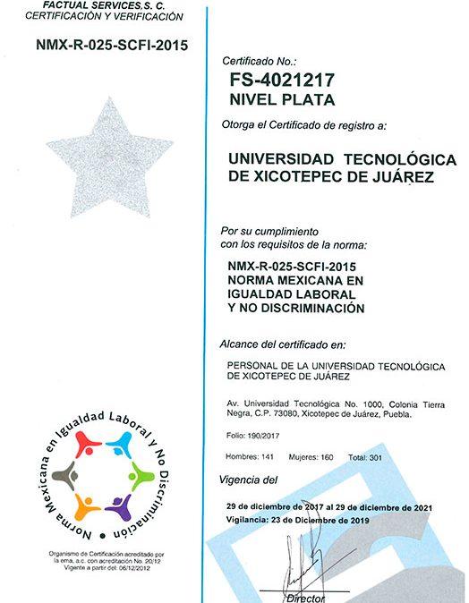 Certificación 2019 UTXJ de la Norma Mexicana en Igualdad Laboral y No Discriminación NMX-R-025-SCFI-2015