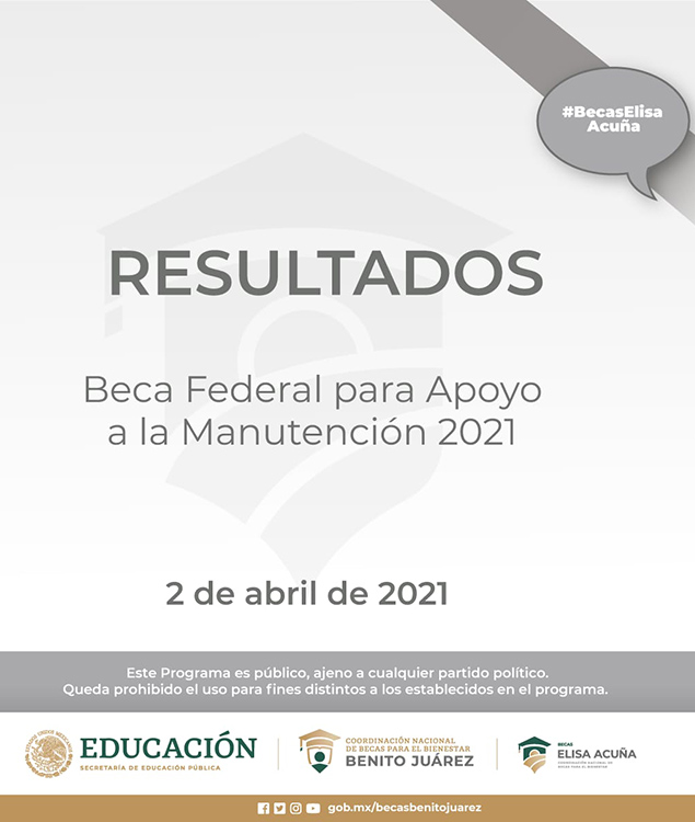 Resultados de Beca Federal de Apoyo a la Manutención 2021