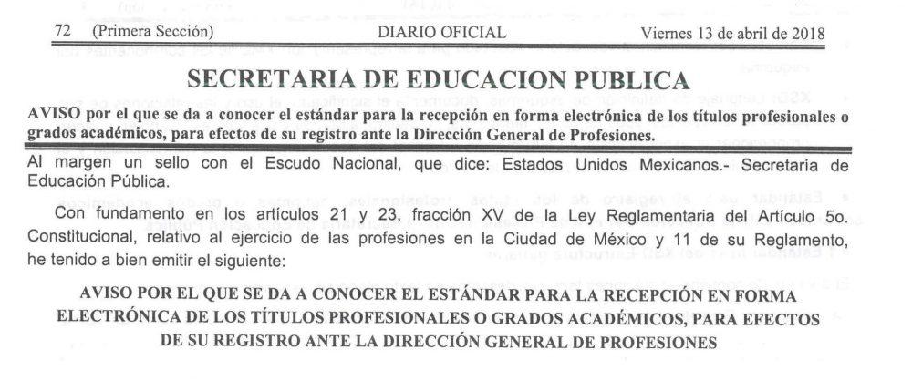 Aviso Estándar para la recepción en forma electrónica de los títulos profesionales, para efectos de su registro ante la Dirección General de Profesiones