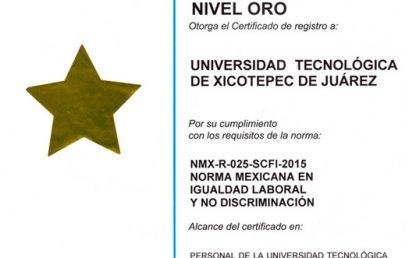 Certificación UTXJ de la Norma Mexicana en Igualdad Laboral y No Discriminación NMX-R-025-SCFI-2015