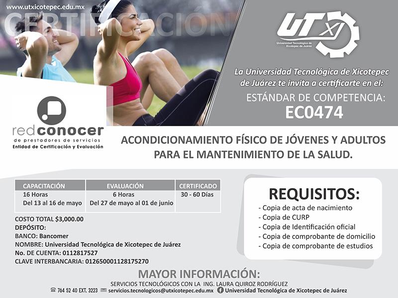 """Certificación Estándar: EC0474 """"Acondicionamiento Físico de Jóvenes y Adultos para el mantenimiento de la salud"""""""