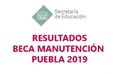 """Resultados Beca """"Manutención Puebla 2019"""""""