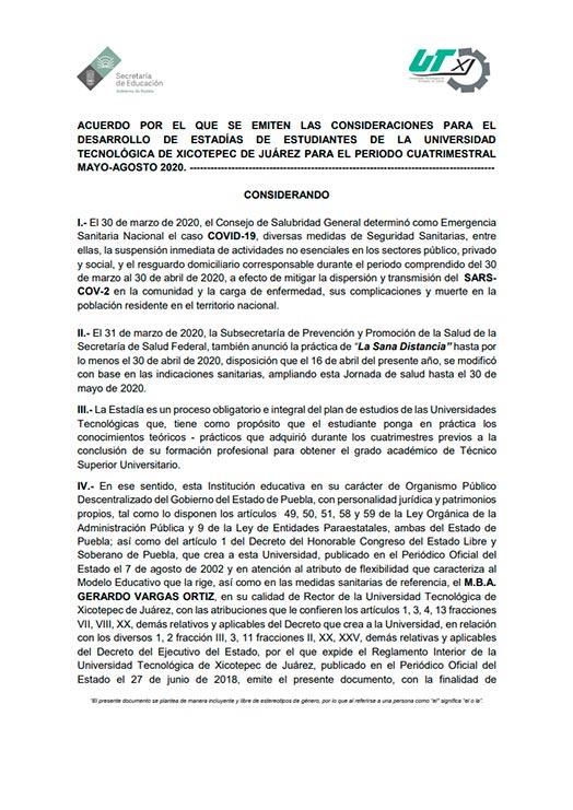 """ACUERDO emitido por Rectoría para la """"Realización de Estadías de nivel T. S. U. del periodo Mayo – Agosto 2020"""""""