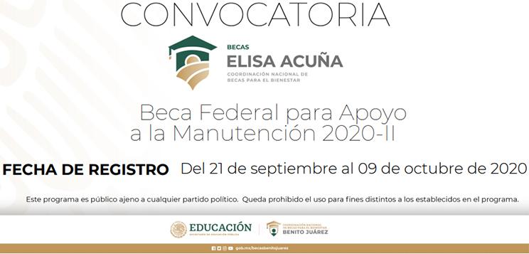 Convocatoria Beca Federal para Apoyo a la Manutención 2020-II