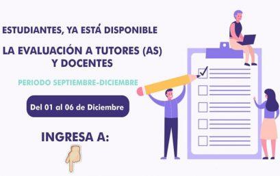 Evaluación a Tutores(as) y Docentes Septiembre – Diciembre 2020