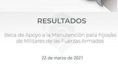 Resultados de Beca de Apoyo a la Manutención para hijos/as de Militares de las Fuerzas Armadas