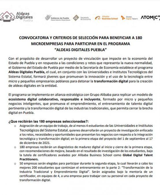 """Convocatoria y Criterios de selección para beneficiar a 180 microempresas para participar en el programa """"Aldeas Digitales Puebla"""""""